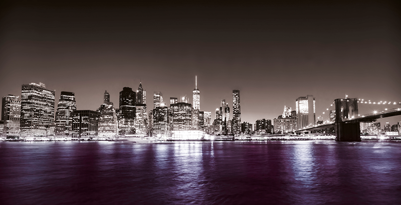 TenStickers. Cities New York east river lilac City skyline prints. NYC skyline canvas art that would always make your imagination and thought filled with the calmness and sweet feeling of viewing the city at nigh.
