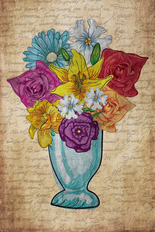 TenStickers. Vaza s cvijećem sofisticirani otisci na platnu. Super nevjerojatna elegantna cvjetna platnena zidna umjetnost koja će dodati toliko karaktera vašem domu. Mnogi popusti dostupni na mreži.