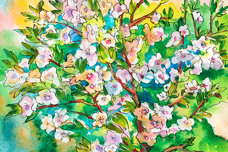 TenStickers. Multi-Coloured Spring Tree canvas print. Tree canvas print which  features a bouquet of painted flowers in amazing shades of orange, purple and blue. Sign up for 10% off.