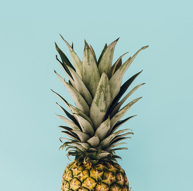 TenStickers. 菠萝植物墙印. 菠萝帆布打印,在蓝色背景上具有菠萝的惊人图像。容易应用于您的墙壁。