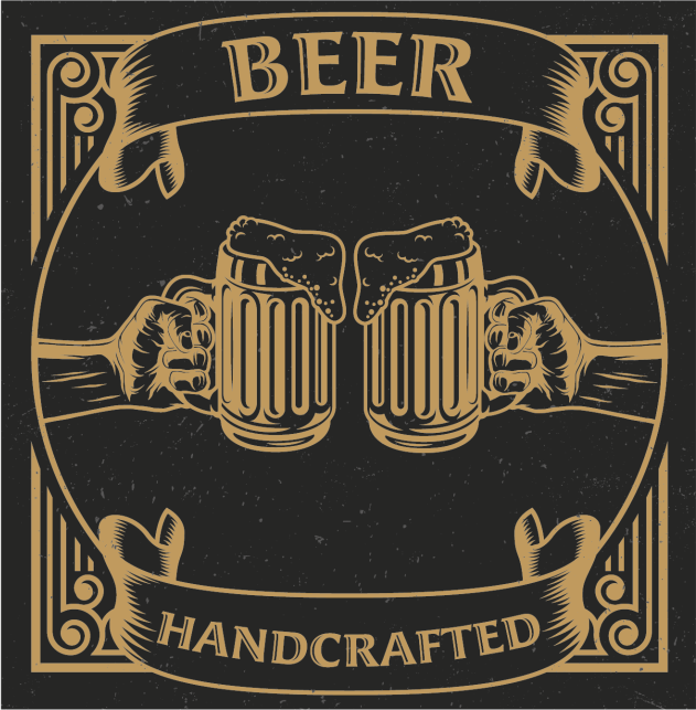 TenStickers. bares rusticos cerveza rustic canvas wall art. Canvas print with beer pints. The pattern presents two beeer pints on a dark brown bakground. Made of high quality materials.