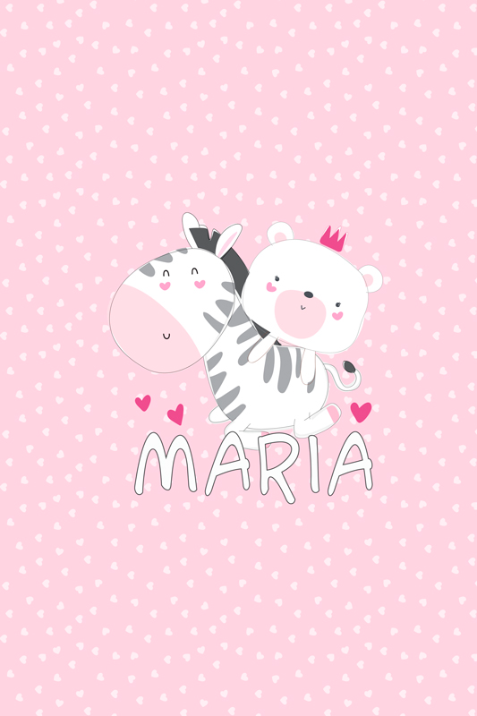 TenStickers. Personalised Zebra and Bear customisable canvas prints. Personalised zebra canvas which  features a cute picture of a bear riding a zebra with your child's name underneath. +10,000 satisfied customers.