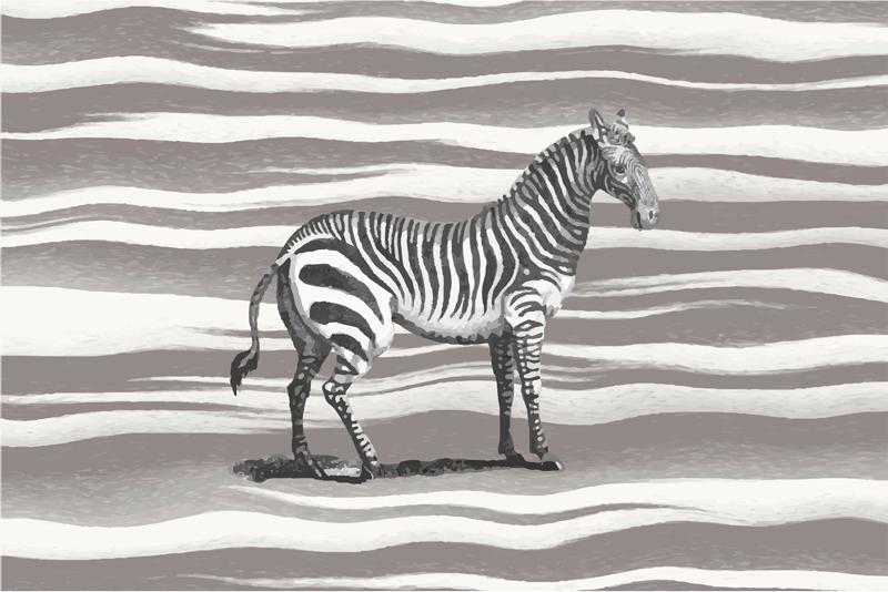 TenStickers. εκτυπώσεις σε καμβά εκλεκτής ποιότητας γκρι κλίμακας με ζέβρα. εκτύπωση καμβά ζέβρα που διαθέτει μια εικόνα ζέβρας που μοιάζει να έχει σχεδιαστεί με γκρι φόντο εκτύπωσης ζέβρα