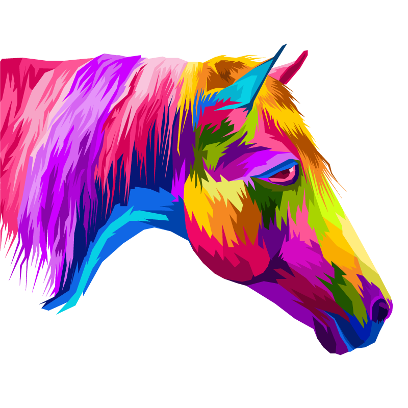 TenStickers. Multi-Colour Horse canvas picture. Horse canvas which  features a stunning image of a horse coloured in all the colours of the rainbow. High quality materials.