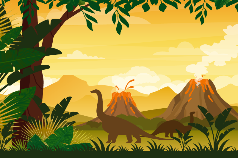 TenStickers. Jurassic tropical landscape dinosaur wall art. A beautiful  and colorful nature landscape canvas with dinosaurs. The canvas design illustrate different dinosaurs walking freely on a beautiful park.