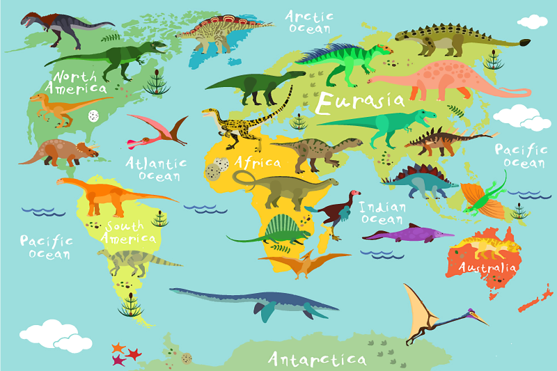 TenStickers. Dinosaurs world map  canvas wall art for children. A fantastic world map with dinosaur canvas for home decoration. It can be decorated on your kid's room and for any room in a house.