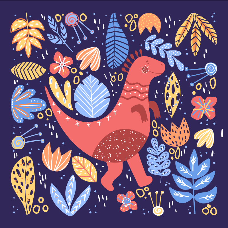 TenStickers. Cartoon childish dinosaur wall art. Cartoon childish dinosaurs canvas prints to decorate the room of your kid. It is original, durable and really easy to hang on a wall.