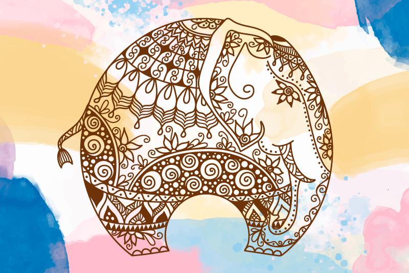 TenStickers. 五彩的花曼陀罗大象画布艺术. 可爱的观赏曼荼罗大象肖像画布艺术与飞溅水彩背景。它是原始的,易于悬挂且经久耐用。