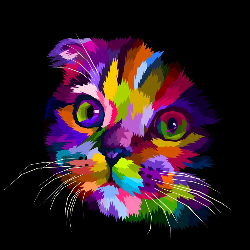 Tenstickers. Malt regnbue katt vegg kunst lerret. Lerretstrykk for katter som har et søtt bilde av kattens ansikt, farget i forskjellige lyse farger. Tilgjengelig i forskjellige størrelser.
