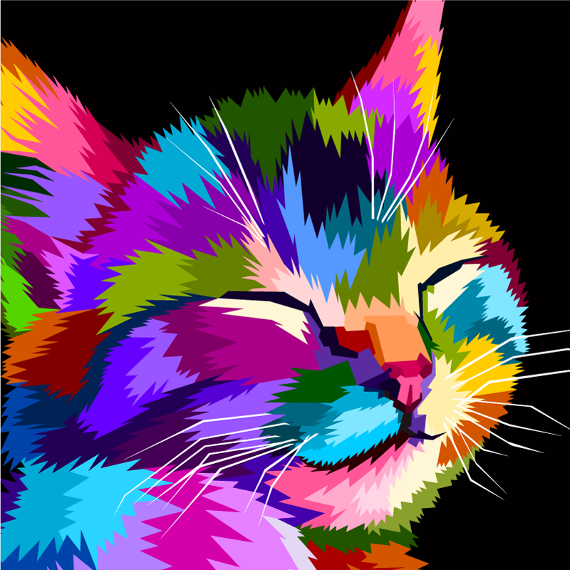 TenStickers. Rainbow cat wall art canvas. Cat canvas print which features an adorable image of a cat painted in lots of different colours. Sign up for 10% off. High quality.