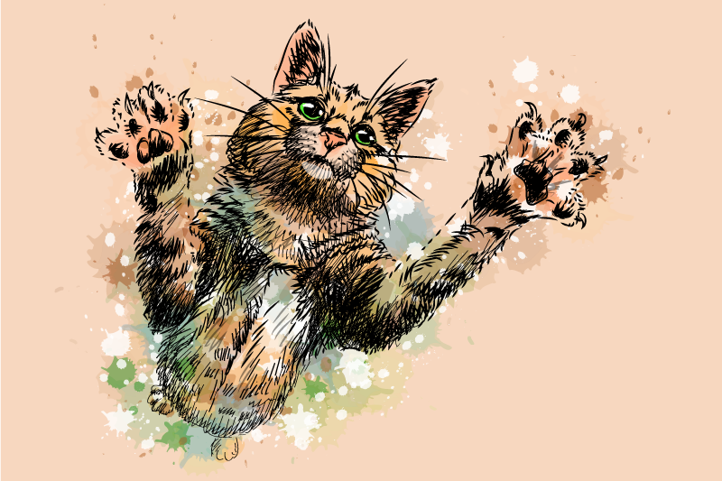 TenStickers. Cute Painted Cat wall art canvas. Cat canvas wall art which features a stunning image of a cat reaching out, surrounding by paint splashes. High quality materials.