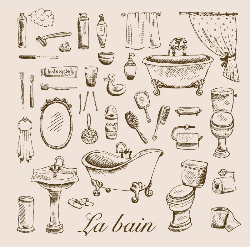 TenStickers. Vintage bathroom vintage wall prints. Lovely bathroom canvas art that you can hang nicely on the wall of a bathroom. It design contains various illustrations of bathroom and toilet  items.