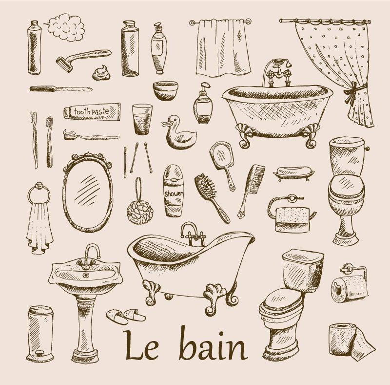 Tenstickers. Vintage bad vintage veggtrykk. Nydelig lerretskunst på badet som du kan henge pent på badets vegg. Den inneholder forskjellige illustrasjoner av baderom og toalettartikler.