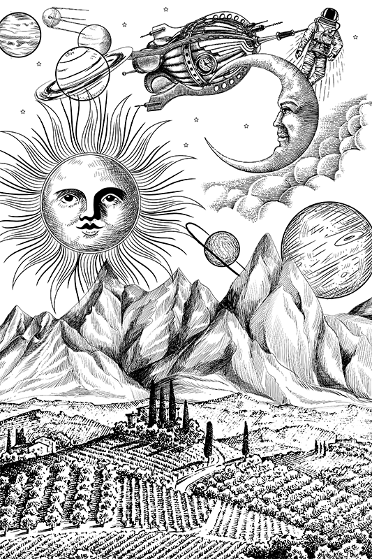 TenStickers. Stort univers collage lærredskunst. Store univers collage lærred kunsttryk i sort og hvid baggrund tekstur. Lærredværten illustrationer af rum, asteroider, halvmåne osv.