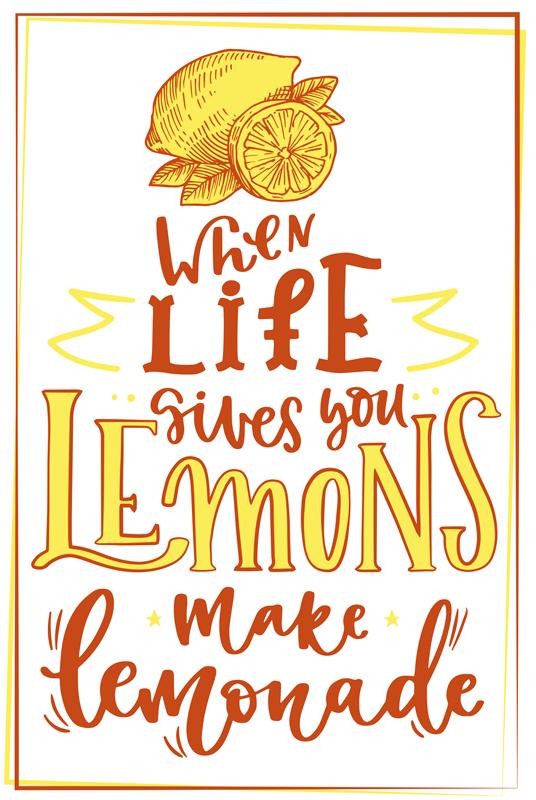 """TenStickers. 柠檬素描报价水果画布艺术. 带有柠檬报价的画布艺术作品。它精美地刻有时尚的混合彩色文字,上面写着""""生命给您柠檬时,柠檬水如水""""。"""