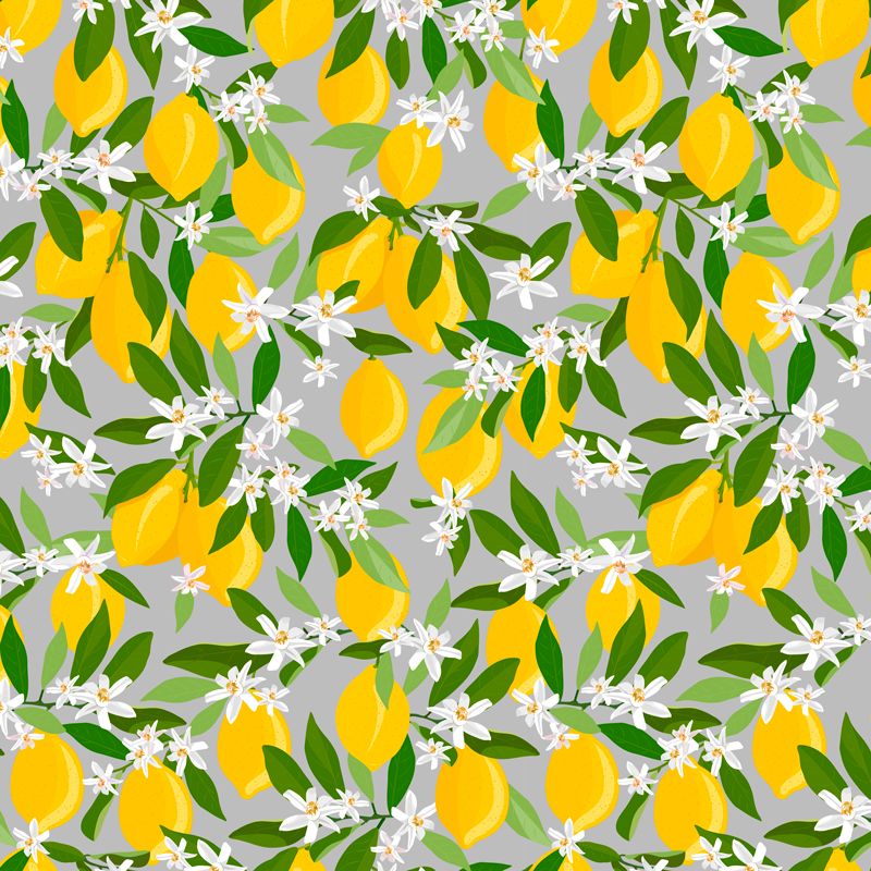 TenStickers. Lemon tree pattern fruit canvas art. Pretty lemon fruit canvas art for home and office decoration. How amazing your space would be with this sweet looking citrus fruit canvas prints.