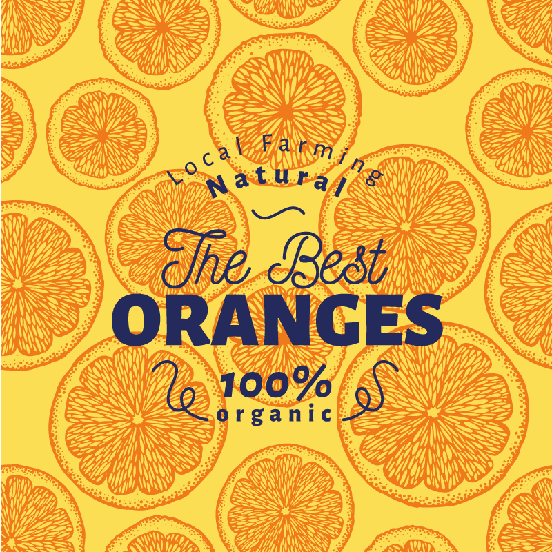 TenStickers. Orange hand draw pattern fruit canvas art. If you love your orange so much then you might love to illustrate with this amazing sliced of orange fruit canvas art on your space.