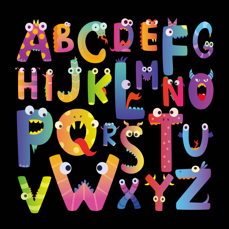 TenStickers. Children's alphabet Letter Canvas wall art. Colorful children alphabet canvas with funky illustrations - This can be decorated in the home, nursery space for both home and outdoor space.
