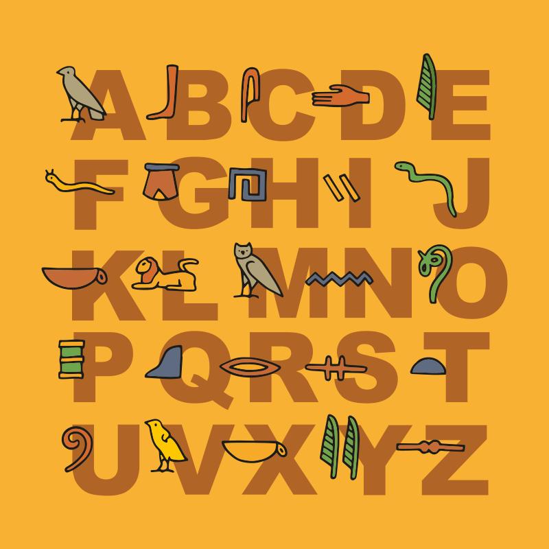 TenStickers. Quadro com o alfabeto Alfabeto egípcio. Aqui temos uma citação de arte em tela de parede que retrata o alfabeto egípcio em um fundo laranja. Adicione ao seu carrinho agora!
