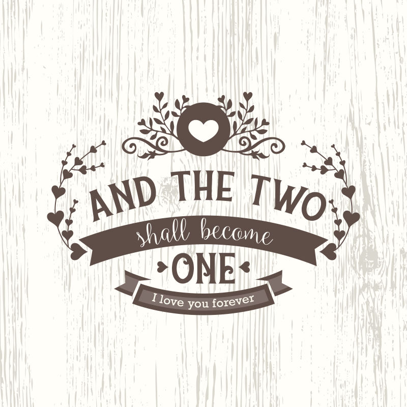 """TenStickers. 老式卧室报价画布艺术. 我们的老式卧室婚姻报价帆布艺术为您提供了婚姻卧室空间。它的文字为""""并且两者将合而为一""""。"""