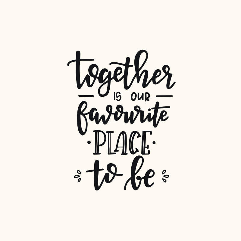 TenStickers. Text phrase quote bedroom canvas art. Love motivation quote canvas for bedroom. It text reads 'Together is our favorite place to be'. It is printed in quality finish and highly durable.