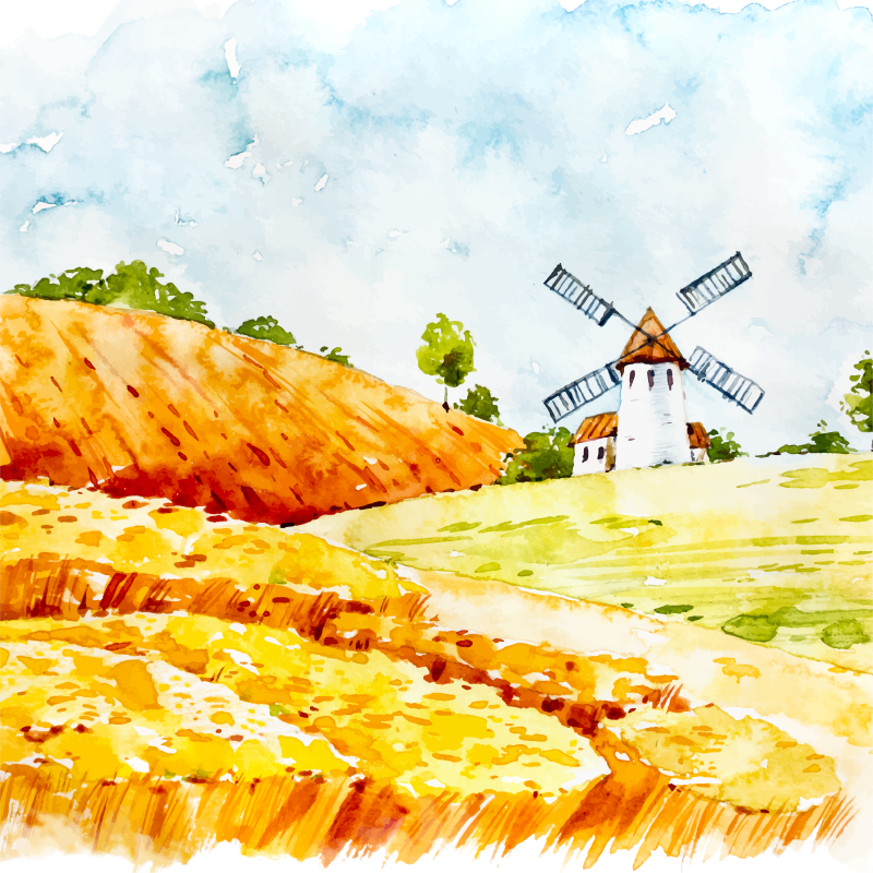TenStickers. Windmills wall prints for living room. Give your space a touch of difference with our original home wall canvas. This canvas illustrates an open landscape with a windmill.