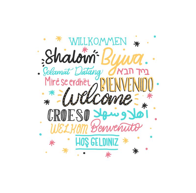 """TenVinilo. Cuadros recibidor bienvenido diferentes lenguas. Cuadro con frase """"Bienvenido a casa"""" en diferentes idiomas para colocar en la entrada o la estancia que desees. Elige tus medidas ¡Envío exprés!"""