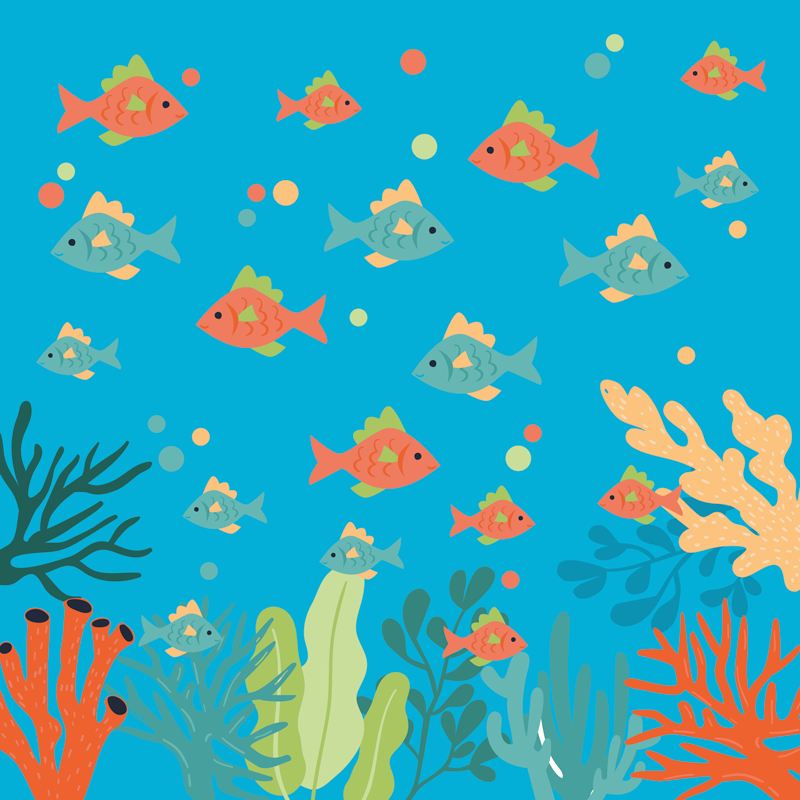 TenStickers. Colorful coral fish canvas art. Colorful sea life canvas art print with design illustration of fishes swimming undersea with presence of corals and other sea life features.