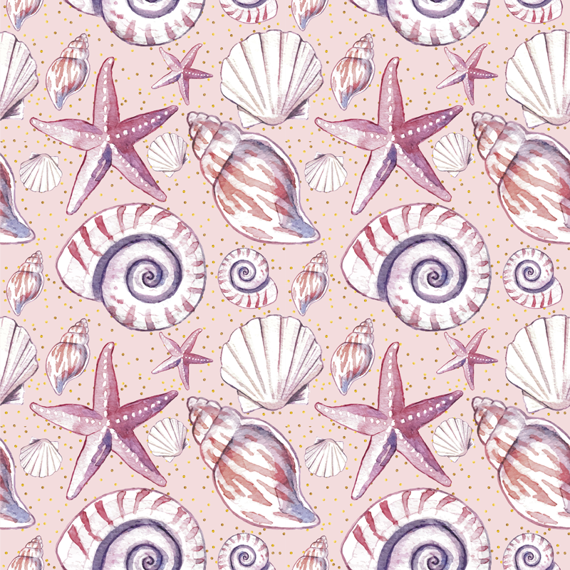TenStickers. 海上生活海上生活帆布墙艺术. 海上生活海上生活的帆布印花-非常可爱且舒缓,可以增强您的空间外观。包含蜗牛,牡蛎,海星等的设计。
