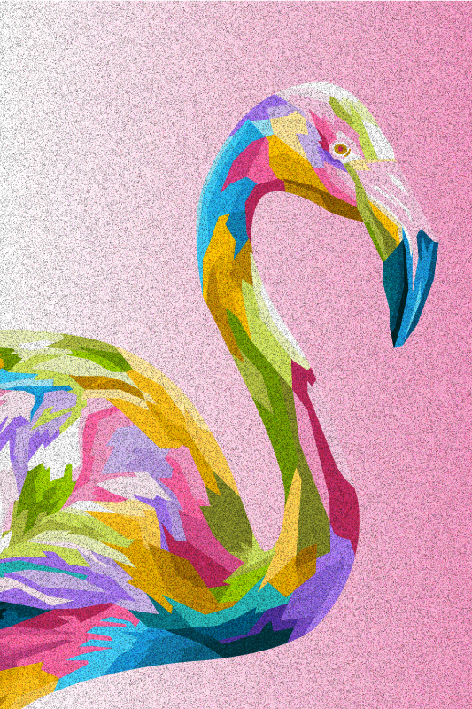 TenStickers. Flamingo art feather canvas. Canvas print with the illustration of an artistic flamingo in many colors on a pink background that will fill with joy and originality the decoration.
