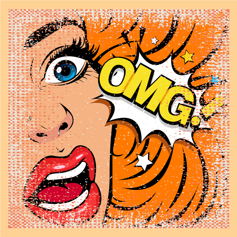 "TenStickers. Pop art face canvas art. Home canvas print with pop art design with the illustration of a surprised woman with the letters ""OMG"" is ideal for you to give a pop style."