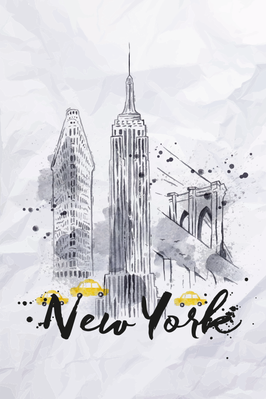 TenStickers. Skyline New York hallway wall art canvas. Skyline New York canvas pictures for hallway - Pretty for any space, it can be placed on common space and for interior areas.