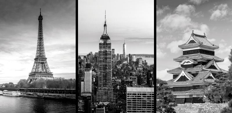 Tenstickers. Stad placerar hall vägg konst duk. Städer skyline duk väggkonst. Vackra monokroma dukar med olika städer landmärkeillustrationer. Det är bevis för blekning och hållbart.