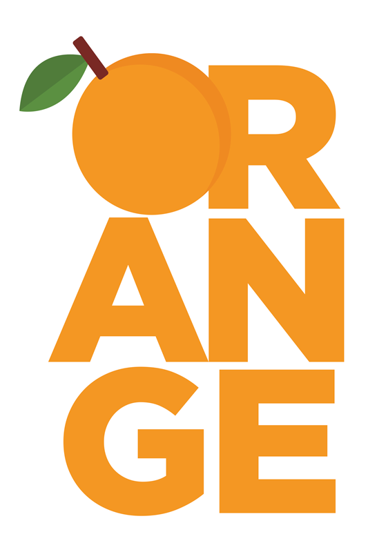 TenStickers. Quadro Decorativo de vinícola Texto laranja. Desenho de tela de vinil de frutas com texto laranja ilustrando a inscrição de texto '' laranja '' com a letra 'o' como uma ilustração laranja.