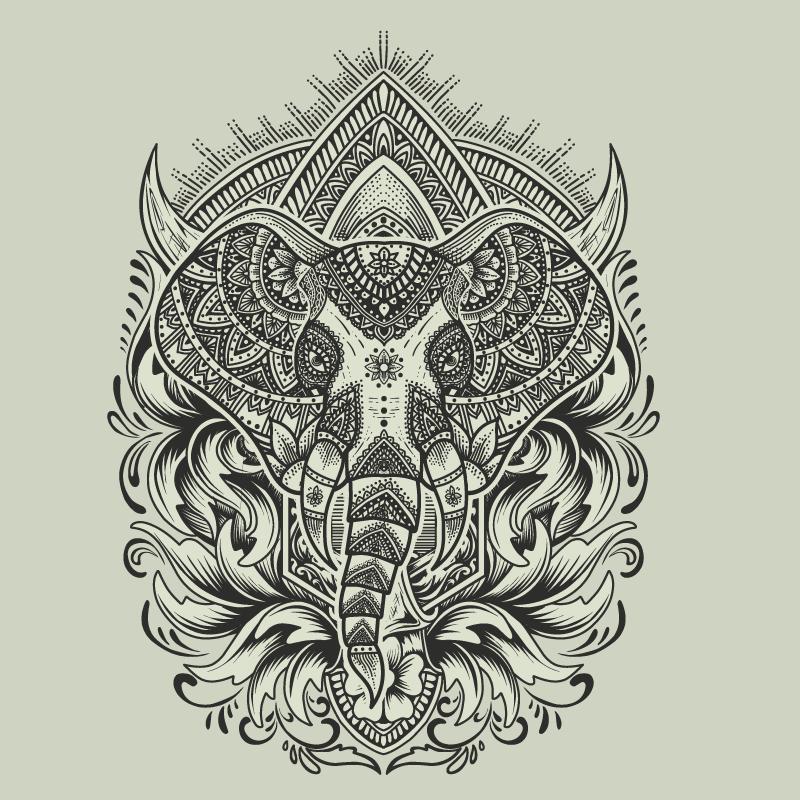 Tenstickers. Norsu mandala canvastaulu. Tuo kosketus ja eettisen taiteen läsnäolo tilallesi heimojen elefanttimandala-kangasseinätaidellamme. Se on alkuperäinen ja kestävä.