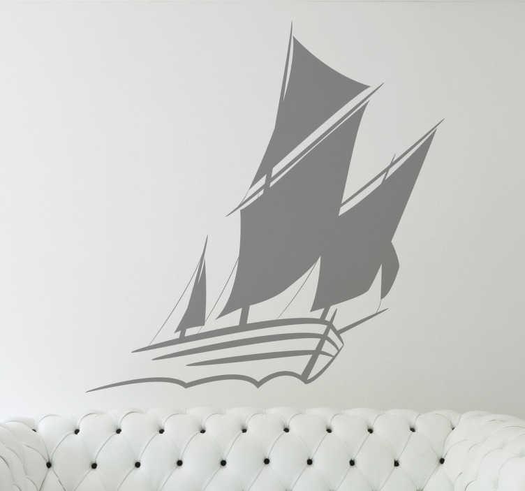 TenStickers. Sejlbåd wallsticker. Sejlbåd silhuet wallsticker. Dekorativ klistermærke med motiv af sejlbåd, passer til de fleste hjem og værelsestyper.