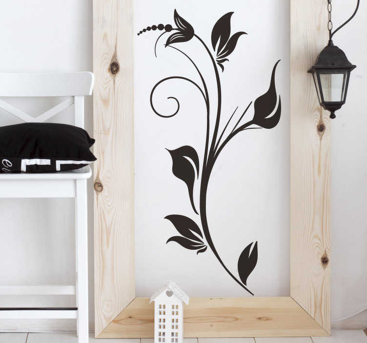 TenStickers. Sticker décoratif fleurs monochrome. Élégant stickers décoratif végétale pour faire fleurir la décoration dans votre chambre.