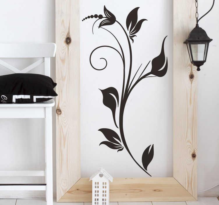 TENSTICKERS. 花の装飾58壁のステッカー. あなたの部屋に美しい仕上がりを与える壁のデカール。シンプルなエレガントなフローラルデザイン。あなたの家を飾るのに理想的な独創的でシンプルなデザイン。