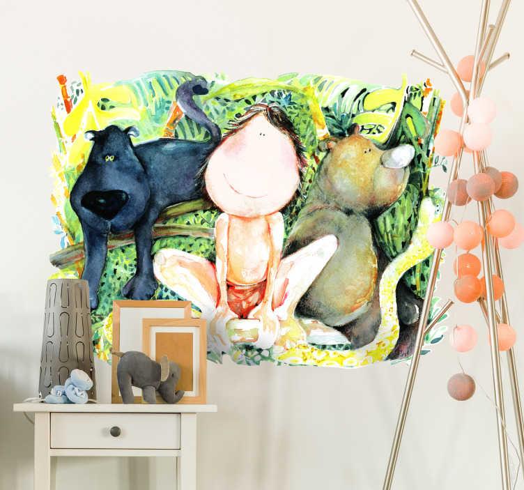 TenStickers. Wandtattoo Kinderzimmer das Dschungelbuch. Ein buntes und sehr schön gemaltes Wandtattoo für ein Kinderzimmer. Es zeigt Mogli aus dem weltbekannten Dschungelbuch