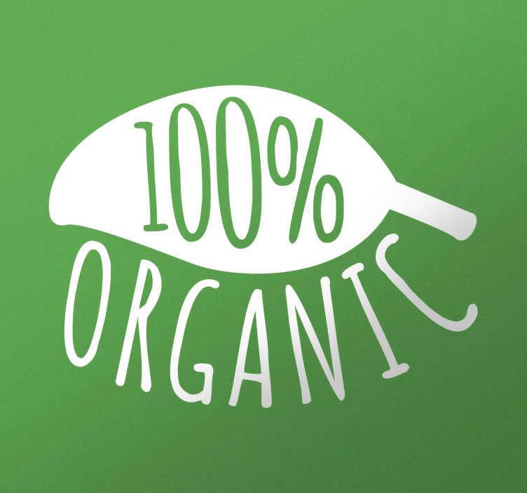TenStickers. Muursticker 100% organic. Muursticker 100% organic, een mooie wanddecoratie als je iets wilt aanduiden als 100% organisch een mooie groene sticker.