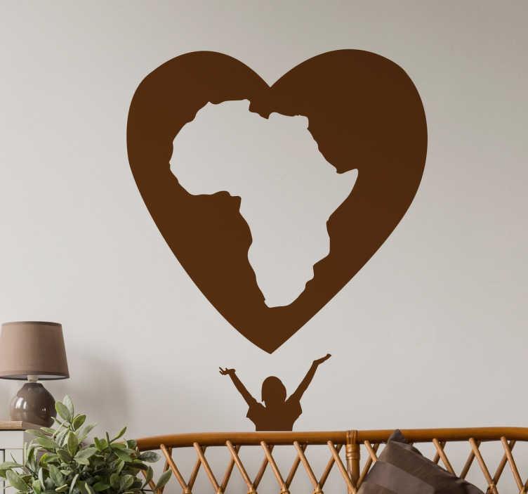 TenStickers. Sticker solidaire cœur Afrique. Autocollant de solidarité avec l'illustration d'un cœur qui contient en elle la forme du continent africain avec un enfant en dessous.