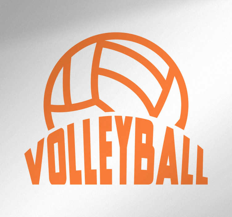 TenStickers. Naklejka na ścianę sport Volleyball. Oryginalna naklejka z piłką prezentująca napis 'Volleyball' wraz z piłką do siatkówki. Nowe promocje w naszym newsletterze!