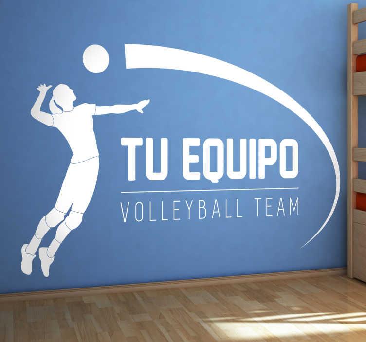 TenVinilo. Adhesivo personalizable equipo volley. Vinilos volleyball personalizables con la ilustración de un jugador de este apasionante deporte.