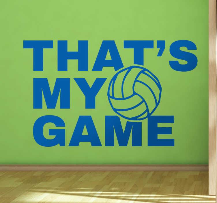 TenStickers. Naklejka na ścianę sport That's my game. Naklejka dekoracyjna ' Volley is my game' razem z piłką do siatkówki. Sprawdź nasze inne naklejki napisy na ścianę. Wysyłka w 24/48h!