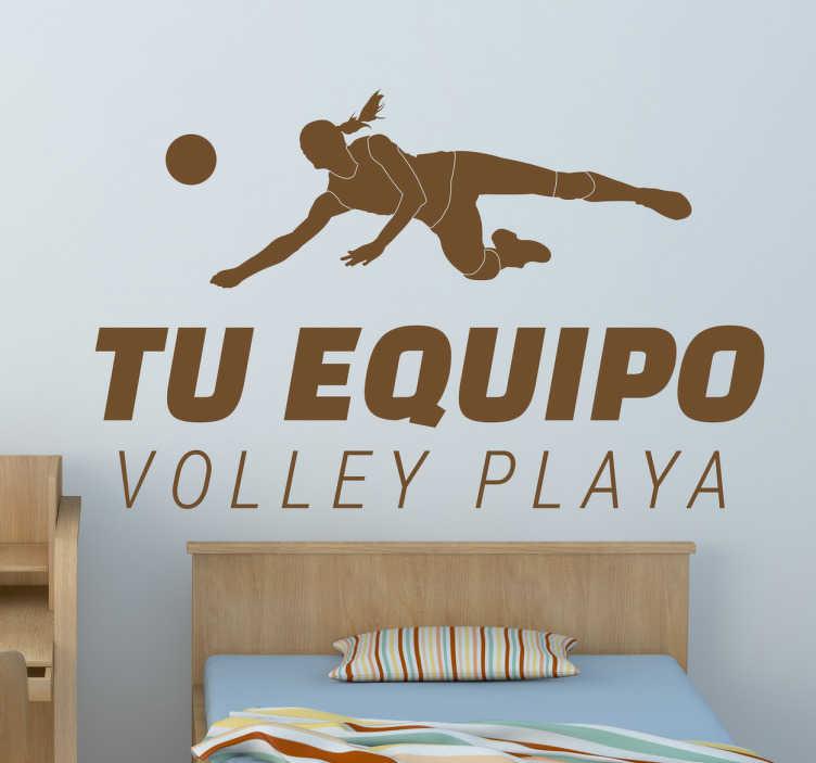 TenVinilo. Pegatinas volley playa personalizables. Pegatinas volleyball personalizables con la ilustración de una jugadora yendo a recibir una pelota y la frase con el nombre de tu equipo.