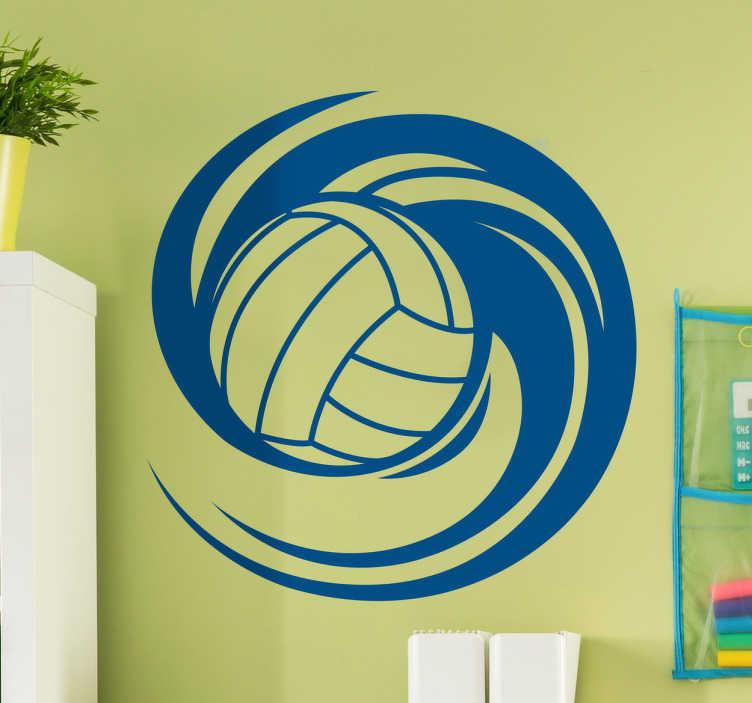 TenStickers. Autocolante decorativo bola volley dinâmica. Autocolante decorativo com bola de volley. Integre este autocolante personalizado na decoração do quarto ou na decoração da sala.