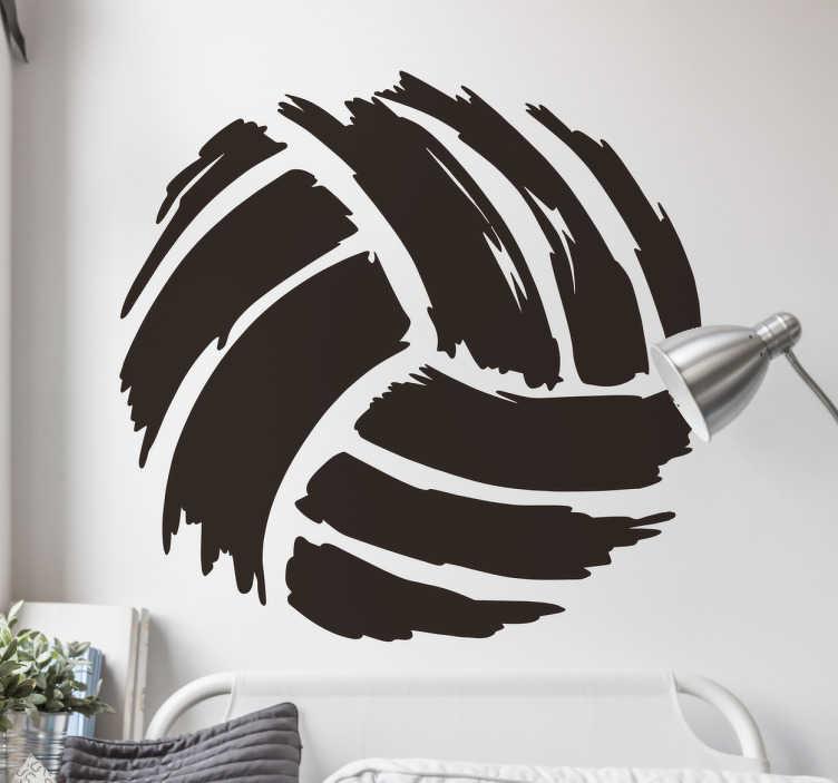 TenVinilo. Vinilo dibujo pincel pelota volley. Vinilos decorativos con la ilustración grunge o emborronada de una pelota de volleyball para decorar y vestir cualquier espacio de tu hogar.