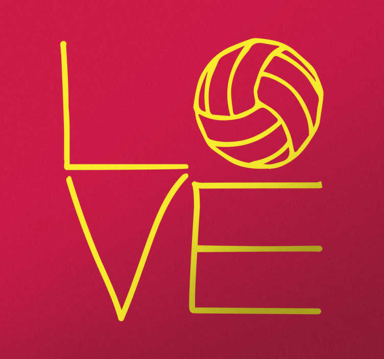 """TenStickers. Love Volleyball Sticker. This simple yet effective and eye-catching decorative wall sticker shows the text """"love"""" with the O appearing as a volleyball."""
