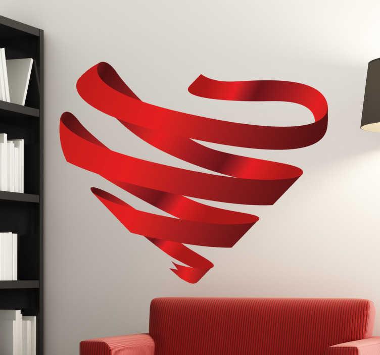 TenStickers. Wandtattoo 3D Herz Bänder. Beeindruckendes 3D Wandtattoo im Design eines Herzen welches aus freischwebenden Bändern nur durch die allgemeine Kontur erkannt werden kann