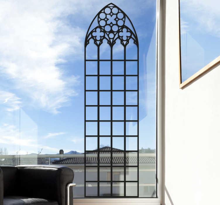 TenStickers. Muursticker gotisch raam venster. Muursticker met een gotisch raam venster, een mooi en elegant ontwerp dat een raam op een originele manier kan decoreren.